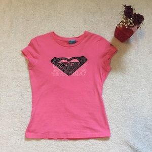 Roxy pink logo Huntington Beach t shirt size small